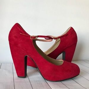 Nine West Red Suede Pumps Heels Shoes LUSHA 3Y